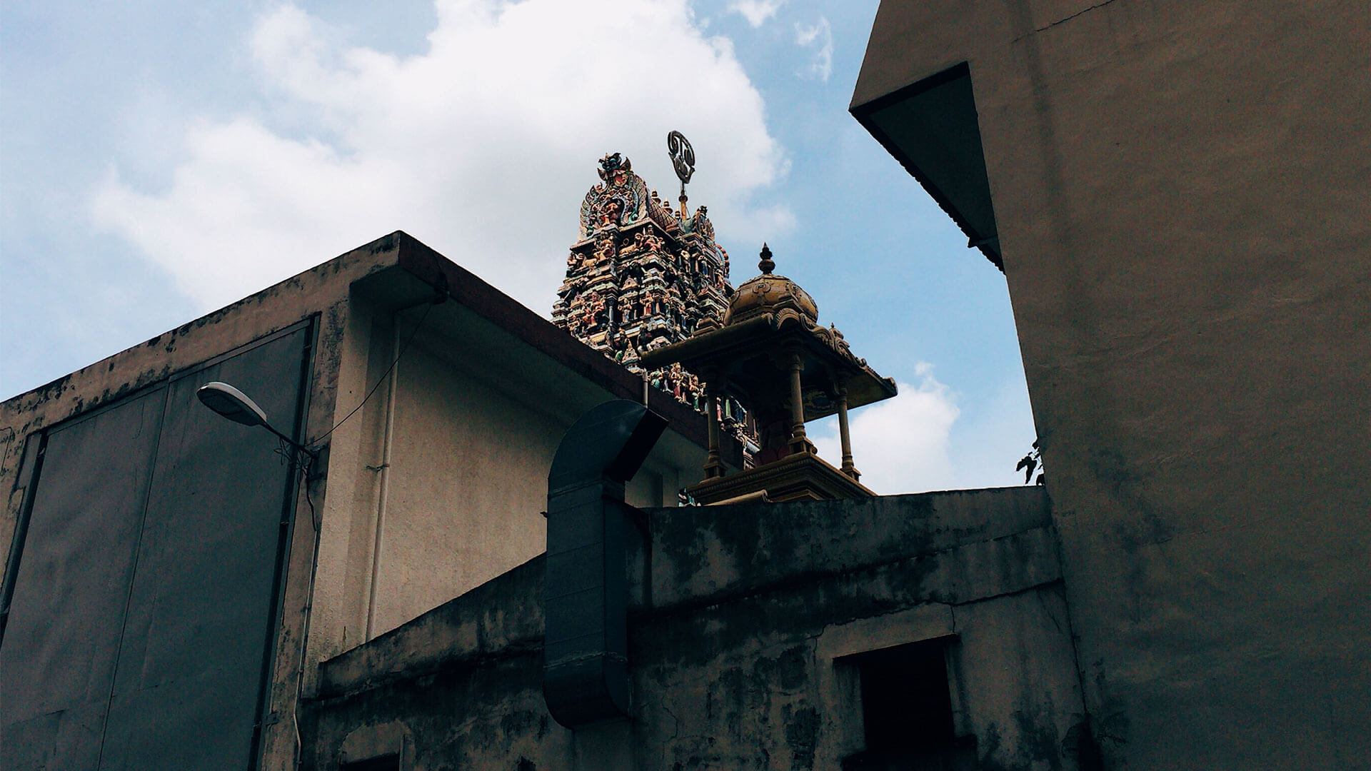 Upward view of a Hindu Kovil in Bukit Bintang