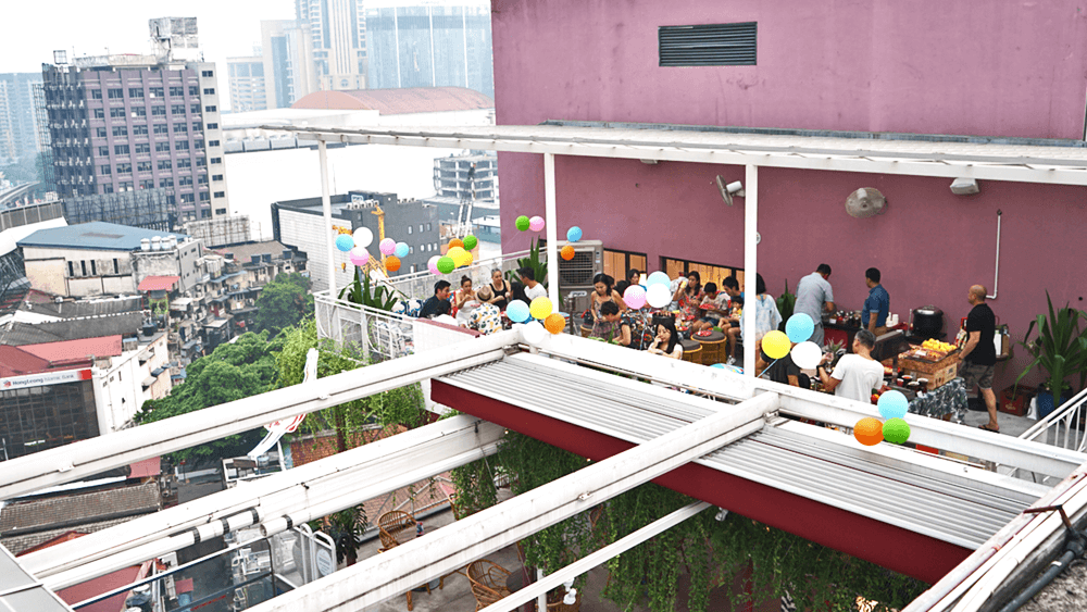 Daytime event at the rooftop event space at KL Journal Hotel