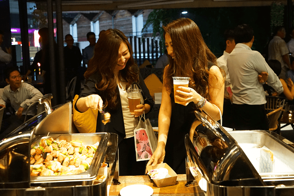 Guests enjoying the buffet at an event at The KL Journal Hotel