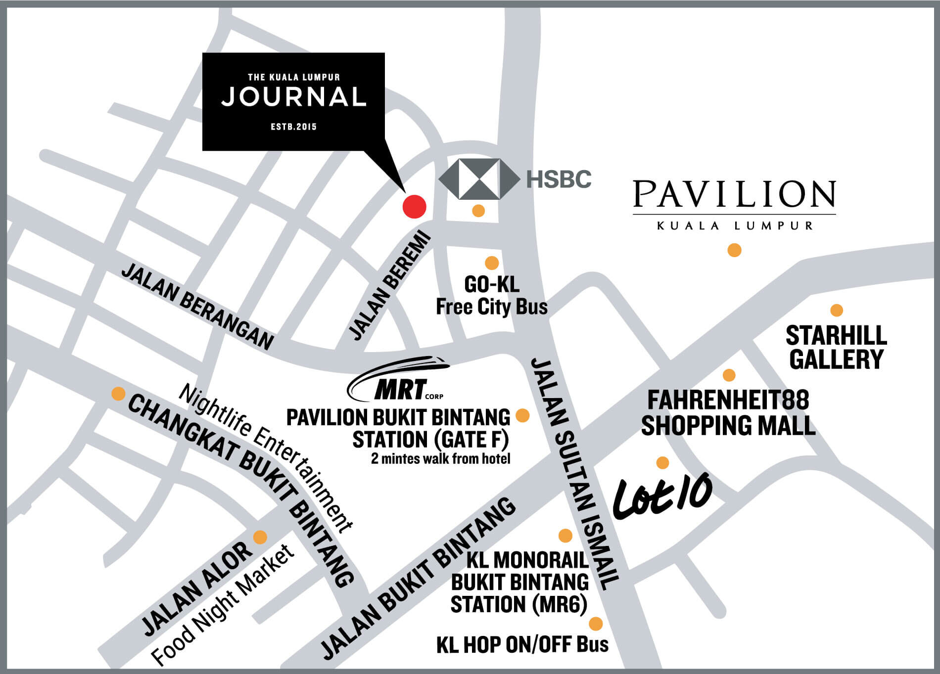 Map to locate The KL Journal Hotel