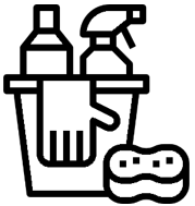Cartoon Image of cleaning supplies